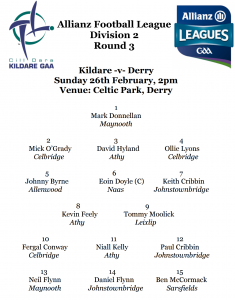 Team News – Kildare v Derry