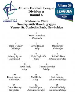 Allianz Football League Team News – Kildare v Clare