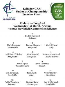Under 21 Championship Team News – Kildare v Longford