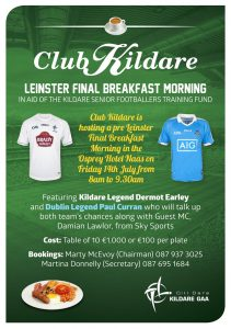 Club Kildare Leinster Final Breakfast Morning