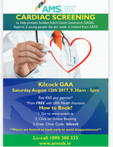 Kilcock GAA Heart Aid Cardiac Screening Clinic
