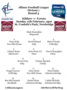 Team News: AFL Division 1 – Kildare v Tyrone