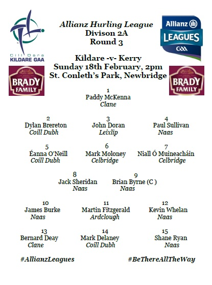 Kildare Team to face Kerry Named
