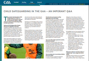 Child Safeguarding in the GAA – An Important Q&A