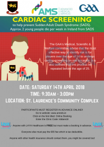 St. Laurence's GAA – Cardia Screening Clinic