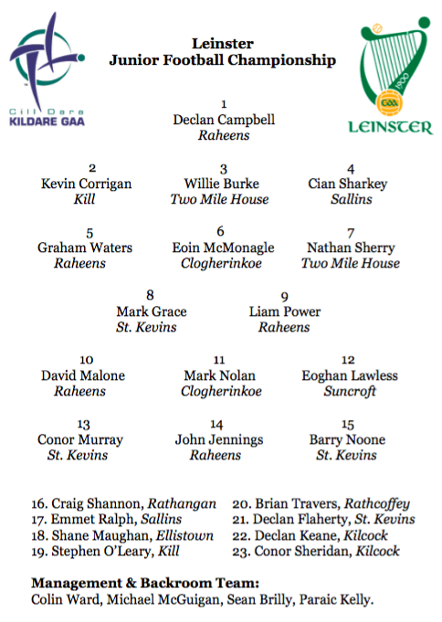 Team News – Leinster Junior Football Championship