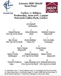 Leinster Minor Hurling Shield Semi Final – Team News
