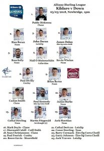 Kildare v Down – Allianz Hurling League Team News