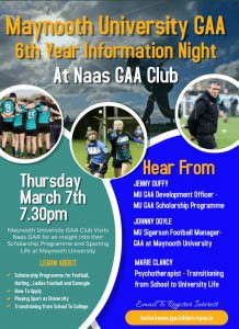 Maynooth University GAA Information Night – Thursday 7th March